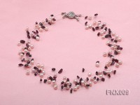 20-strand Lavender Cultured Freshwater Pearl & Garnet Chips Galaxy Necklace