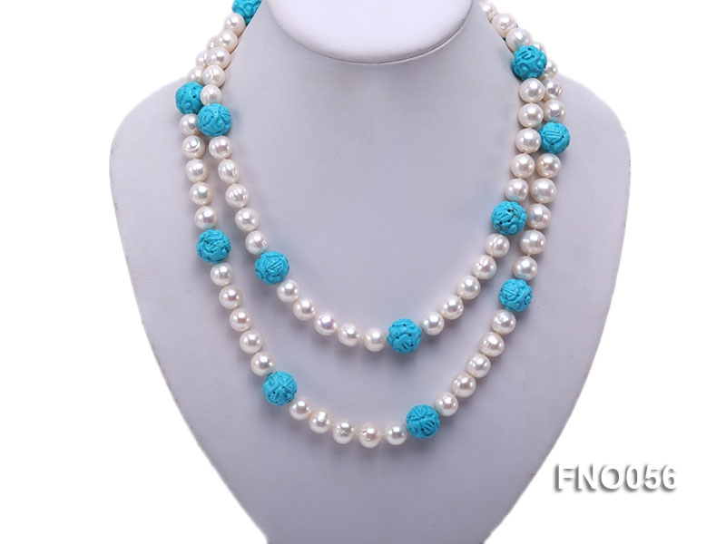9-10mm natural white round freshwater pearl with carved blue turquoise necklace