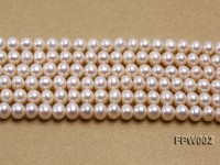 Wholesale 6.5x7mm White Flat Cultured Freshwater Pearl String