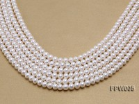 Wholesale 7x8mm Classic White Flat Cultured Freshwater Pearl String