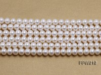 Wholesale 8×9.5mm Classic White Flat Cultured Freshwater Pearl String