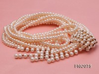 6-7mm natural white flat freshwater pearl necklace