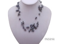 7-strand Bluish-gray Cultured Freshwater Pearl Galaxy Necklace