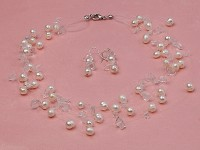 10-strand White Freshwater Pearl & Rock Crystal Chips Galaxy Necklace and Earrings Set