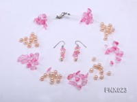 10-strand 6-7mm Cultured Freshwater Pearl & Pink Crystal Chips Necklace and Earrings Set