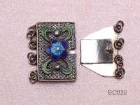 13*20mm Multi-strand Cloisonne-inlaid Sterling Silver Clasp