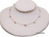 7x8mm Freshwater Pearl on a Gold-plated Metal Chain Station Necklace