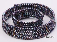 Four-row 5mm Black Freshwater Pearl Choker Necklace and Bracelet Set