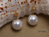 Classic 12mm white round seashell pearl earrings in sterling silver