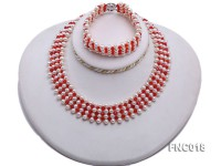 5-5.5mm White Freshwater Pearl and Red Crystal Beads Choker Necklace and Bracelet Set