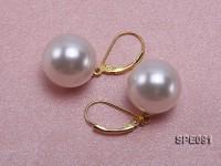 Shiny 14mm white round seashell pearl earrings