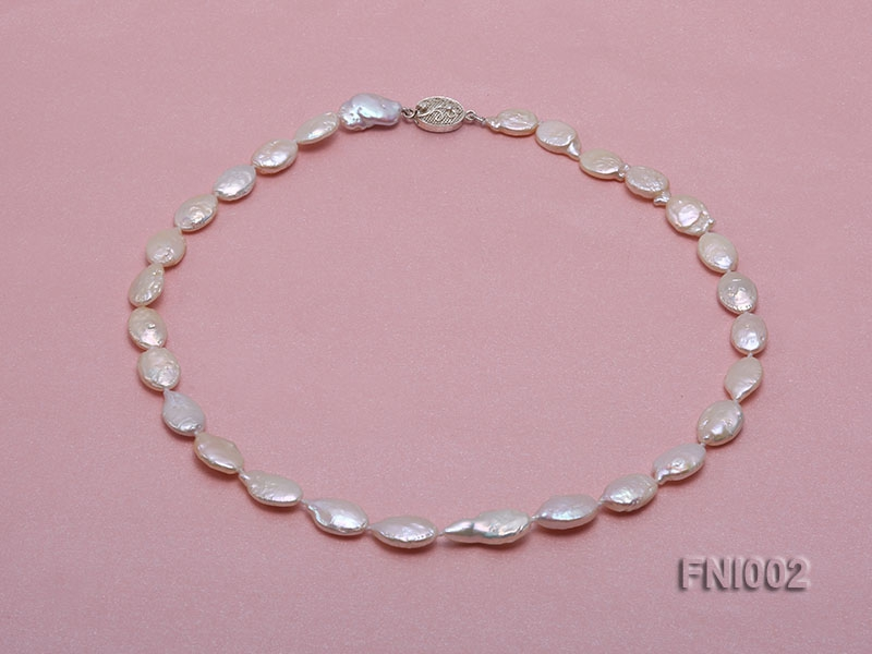 Classic 11x16mm Pink Irregular Freshwater Pearl Necklace with 4mm White Round Pearls