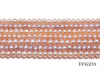 Wholesale 5×5.5mm Pink Flat Cultured Freshwater Pearl String