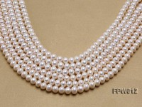 Wholesale 7.5x9mm Classic White Flat Cultured Freshwater Pearl String