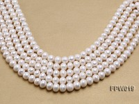 Wholesale 11x12mm Classic White Flat Cultured Freshwater Pearl String