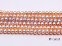 Wholesale 6x8mm Pink & Lavender Flat Cultured Freshwater Pearl String
