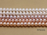 Wholesale 8.5x11mm White/Pink/Lavender Flat Freshwater Pearl String