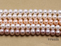 Wholesale 8.5x10mm White and Pink Flat Freshwater Pearl String