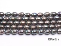 Wholesale 9X11mm Black Rice-shaped Freshwater Pearl String