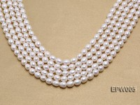 Wholesale High-quality 7.5X10mm Classic White Rice-shaped Freshwater Pearl String