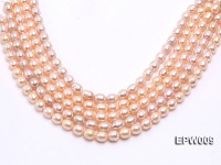 Wholesale 9x11mm pink  Rice-shaped Freshwater Pearl String
