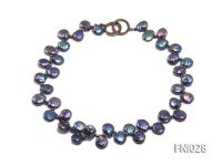 Classic 11x13mm Black Button-shaped Freshwater Pearl Necklace with Golden Gilded Beads