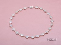 Classic 11mm  White Rhombus Freshwater Pearl Necklace with Small Round Pearls