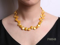 Classic 13×15 mm Golden Button Freshwater Pearl Necklace
