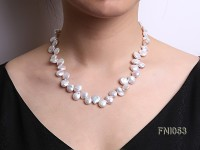 Classic 11-12mm White side-drilled Button Freshwater Pearl Necklace