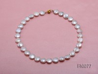 Classic 12mm White Button-shaped Freshwater Pearl Necklace