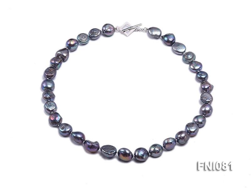 Classic 10mm Purplish-grey Irregular Freshwater Pearl Necklace