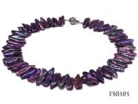 Classic 10X25-12X40mm Purple Freshwater Pearl Sticks Necklace