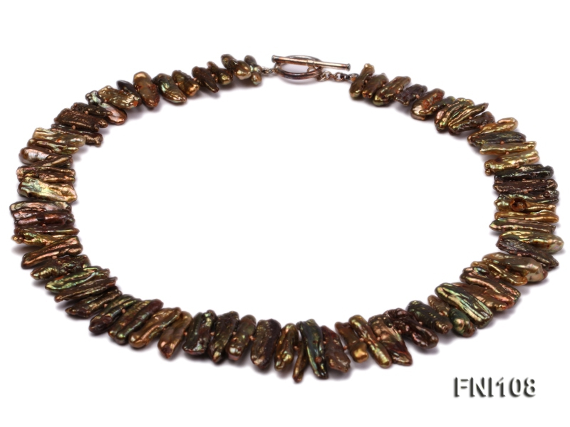 Classic 8×20-10x35mm Coffee Freshwater Pearl Sticks Necklace