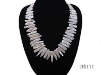 Classic 7×20-8x40mm White Stick-shaped Freshwater Pearl Necklace