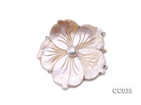 55mm Three-Row Sterling Silver Shell Flower Clasp