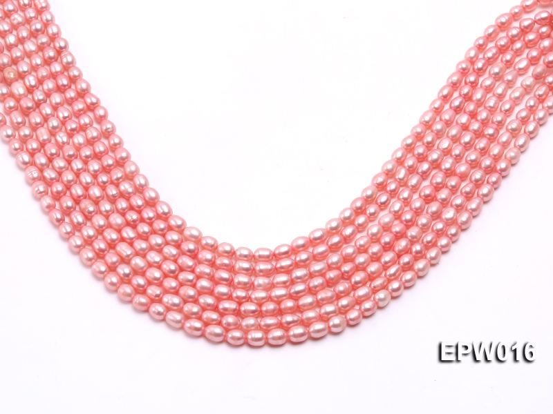 Wholesale 5.5X7mm Pink Rice-shaped Freshwater Pearl String