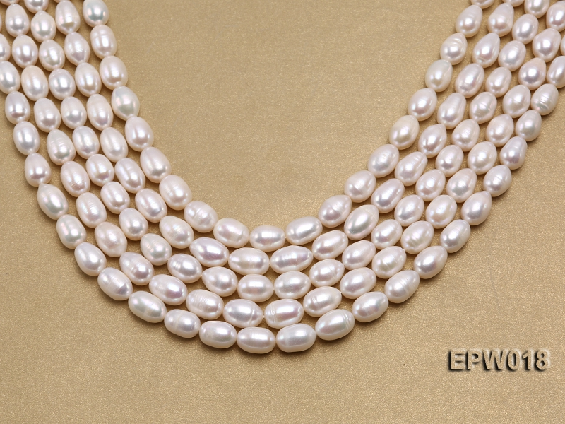 Wholesale 8.5X13mm Classic White Rice-shaped Freshwater Pearl String