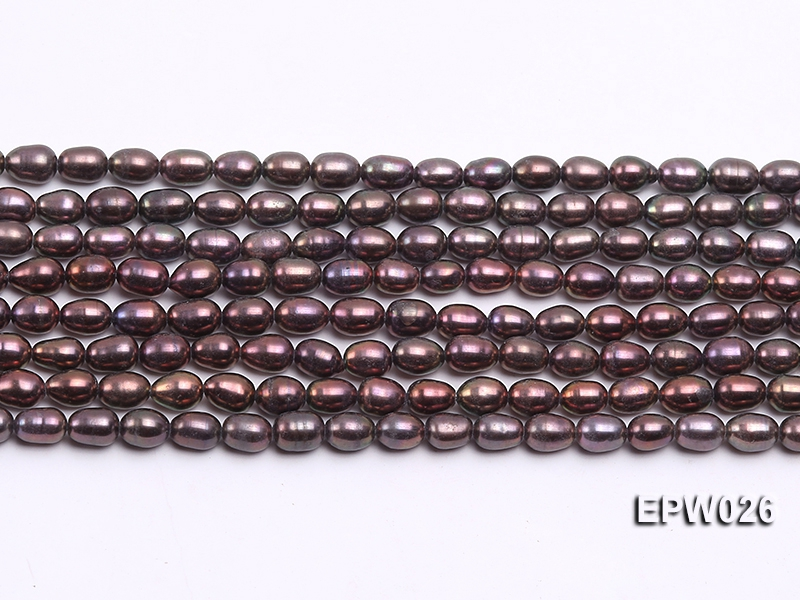 Wholesale 5×6.5mm Black Rice-shaped Freshwater Pearl String