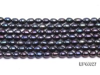 Wholesale 5.5X6.5mm Black Rice-shaped Freshwater Pearl String