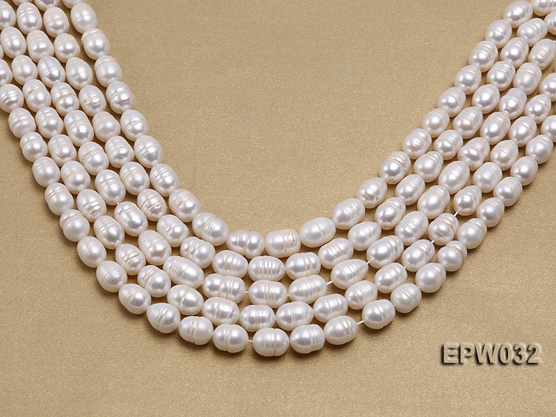 Wholesale 9.5x13mm white Rice-shaped Freshwater Pearl String