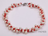 Two-strand 8-9mm White Freshwater Pearl Necklace and Red Coral Beads Necklace