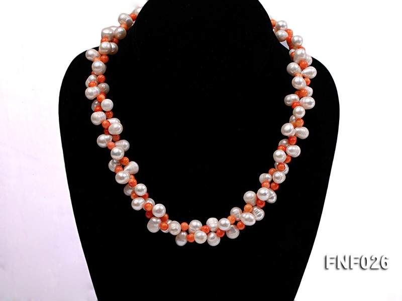 Two-strand 8-9mm White Freshwater Pearl Necklace and Pink Coral Beads Necklace