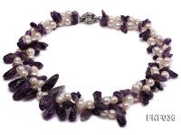 Two-strand 6-8mm White Freshwater Pearl and Purple Baroque Crystal Chips Necklace