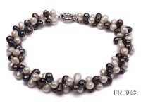 Two-strand 8-10mm White and Dark-purple Freshwater Pearl Necklace
