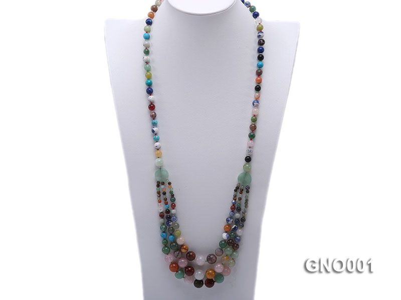 8mm Three-Row Colorful Gemstone Necklace