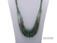 8mm Round Green Aventurine Jade Three-Row Necklace