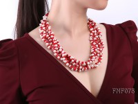 Four-strand 6-7mm White Freshwater Pearl and Red Coral Chips Necklace