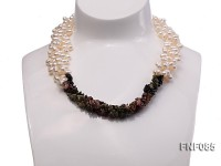 Three-strand 5-7mm White Freshwater Pearl and Baroque Tourmaline Chips Necklace