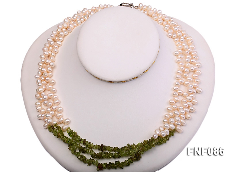 Three-strand 5-7mm White Freshwater Pearl and Baroque Olivine Chips Necklace