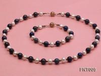 7-8mm White Freshwater Pearl & Round lapis lazuli Beads Necklace and Bracelet Set